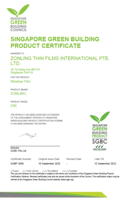 Singapore Green Building Product Cert - Z40